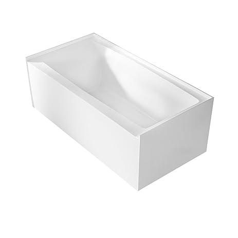 MAYKKE 60u0026quot; Pensacola Modern Three Wall Alcove Bathtub, Right Hand Drain  | Rectangular