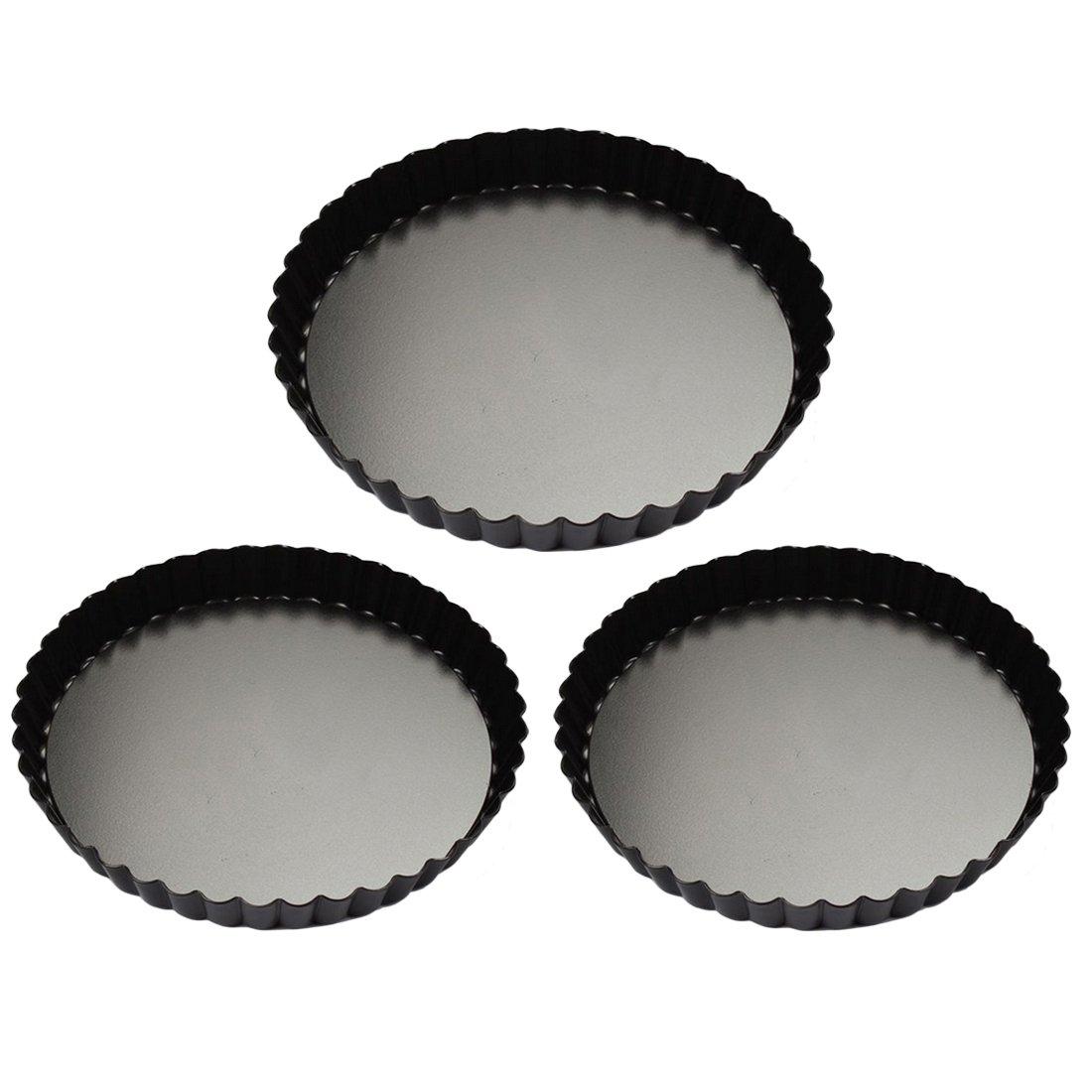 Quiche Pans, Yamix 3Pcs Set Non-stick Quiche Tart Pan, Tart Pie Pan, Round Tart Quiche Pan With Removable Bottom(7.9'',9.4'',11'')