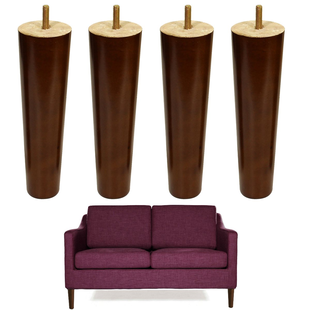 8 Inch Wood Sofa Legs Walnut Finished Furniture Feet Replacement Legs Pack Of 4 M8 Bolt For Coffee Table Ikea Bed Sideboards Cupboard Dresser by Aoryvic