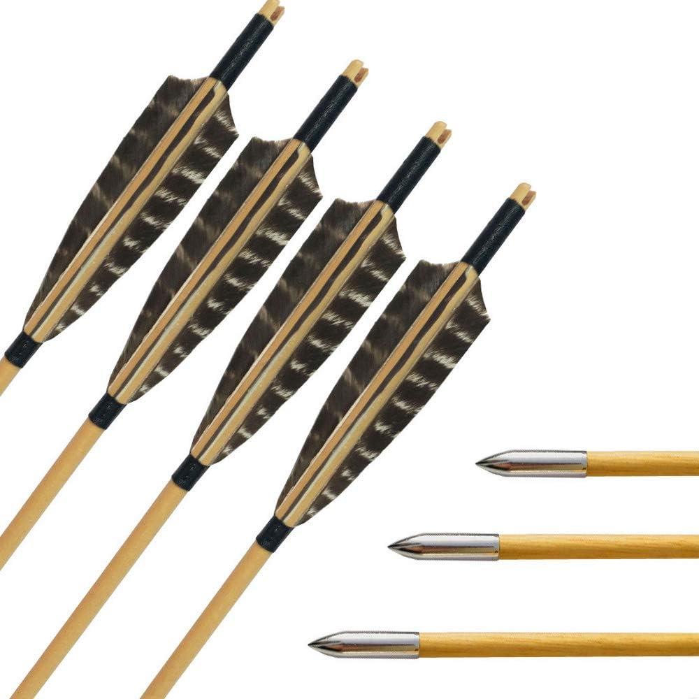 SHARROW Flecha de Madera 31 Pulgadas con 5 Flecha Pluma de Pavo Punta de Flecha para Arco Compuesto Recurvo Longbow