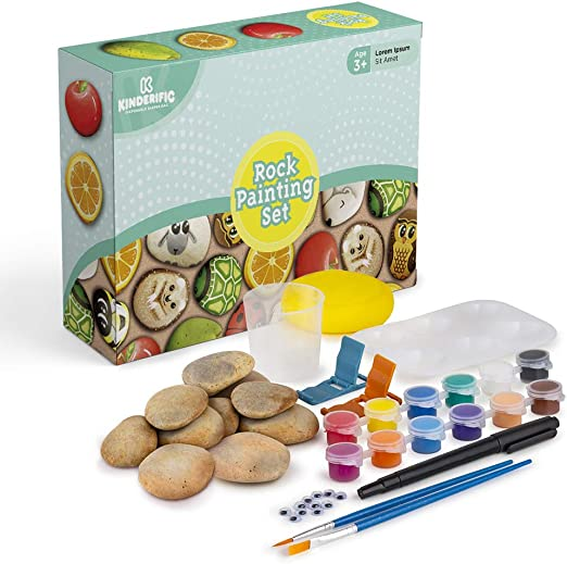Includes Smooth Pebbles Premium Rock Painting Craft Kit Acrylic Paint Pens Paints and Brushes Decorating Hobby Gift Set
