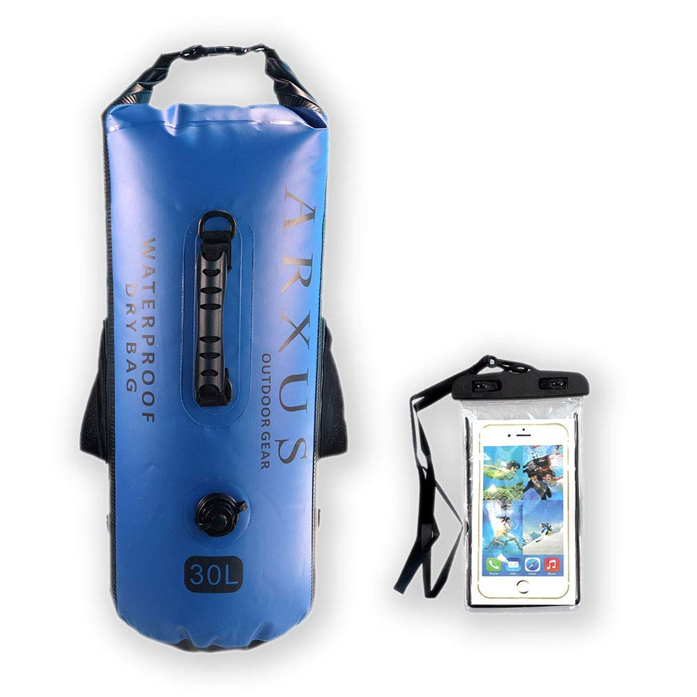 Arxus Waterproof Dry Bag - 30L Roll Top Dry Compression Sack with Adjustable Shoulder Strap,Carry Handle,Inner Pocket and Side Pockets - Come with Waterproof Phone Case (Blue, 30L) Ltd YT007-Blue-30L-CA