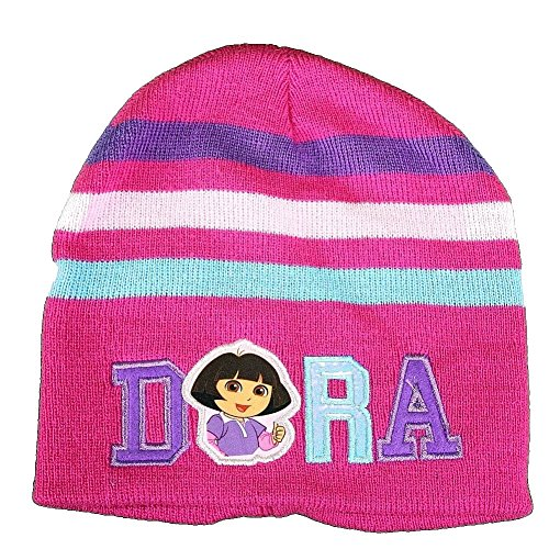 Dora The Explorer Star & Stripes Pink Girl's Hat & Gloves Set Sz. 4-7