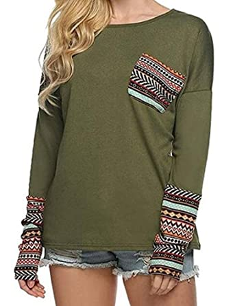 7a03da6c8de709 Ibelive Women Autumn Round Neck Long Sleeve Striped Patchwork T-Shirts  Blouse with Pocket Tops  Amazon.co.uk  Clothing