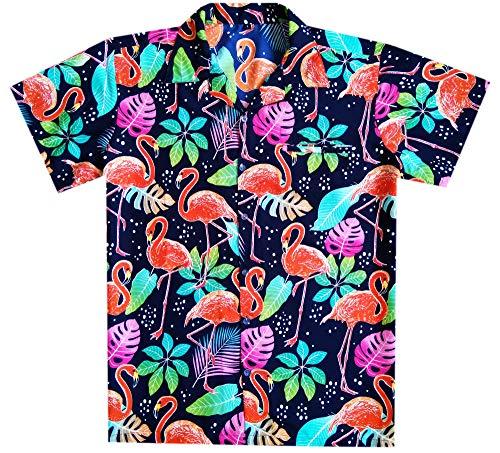 Boys Hawaiian Shirt Short Sleeve Front Pocket Women Flamingo NavyBlue S