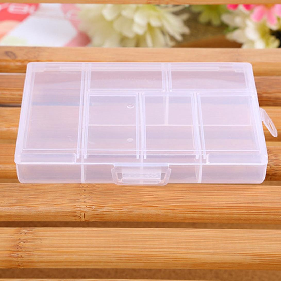 Compia Storage Case Box Holder Container Pills Jewelry Nail Art Tips 6 Grids (White)