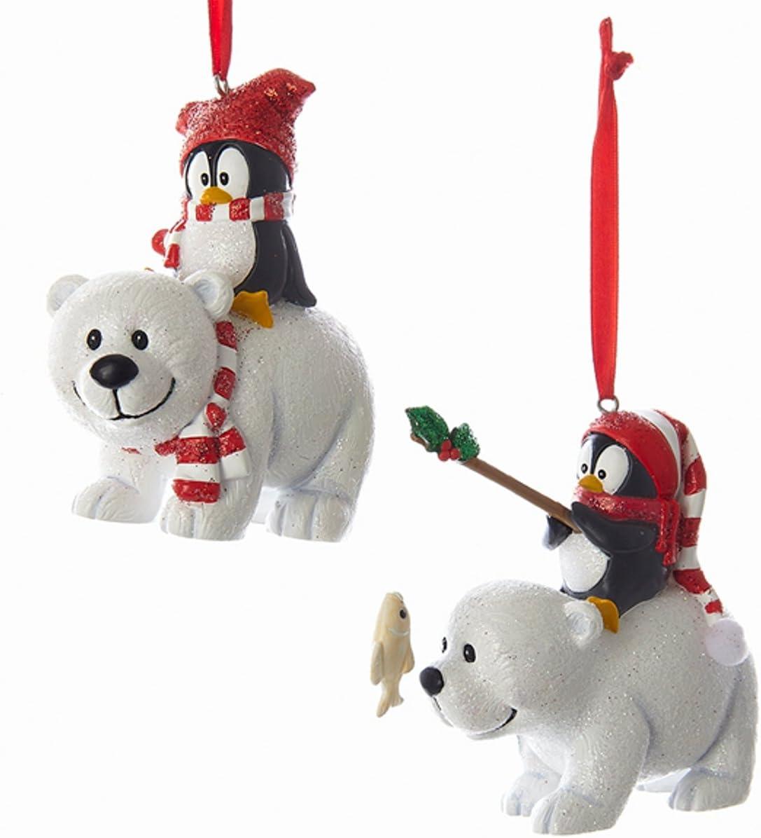 Kurt Adler Polar Bear with Penguin Christmas Ornaments 2 Assorted