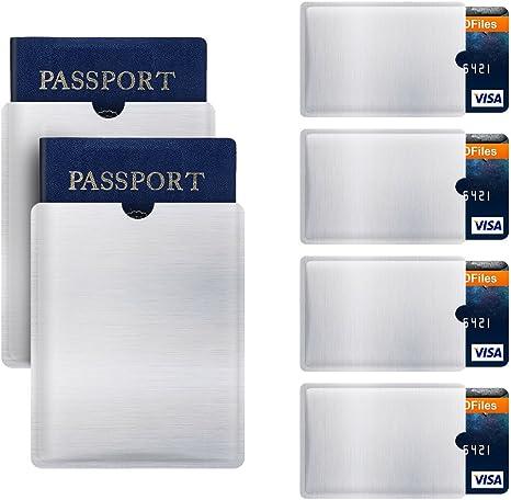 RFID Blocking Sleeve Anti Theft 4 Credit Card & 2 Passport Holder Wallet Pocket