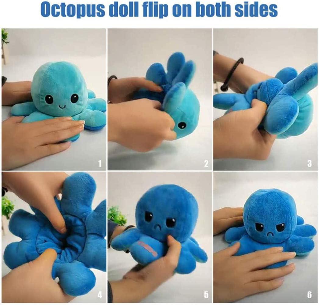 L/&C Cute Octopus Plush Toys Octopus Doll Flip De Doble Cara Octopus Plush Toy Octopus Marine Life Toys Regalo para Ni/ños D