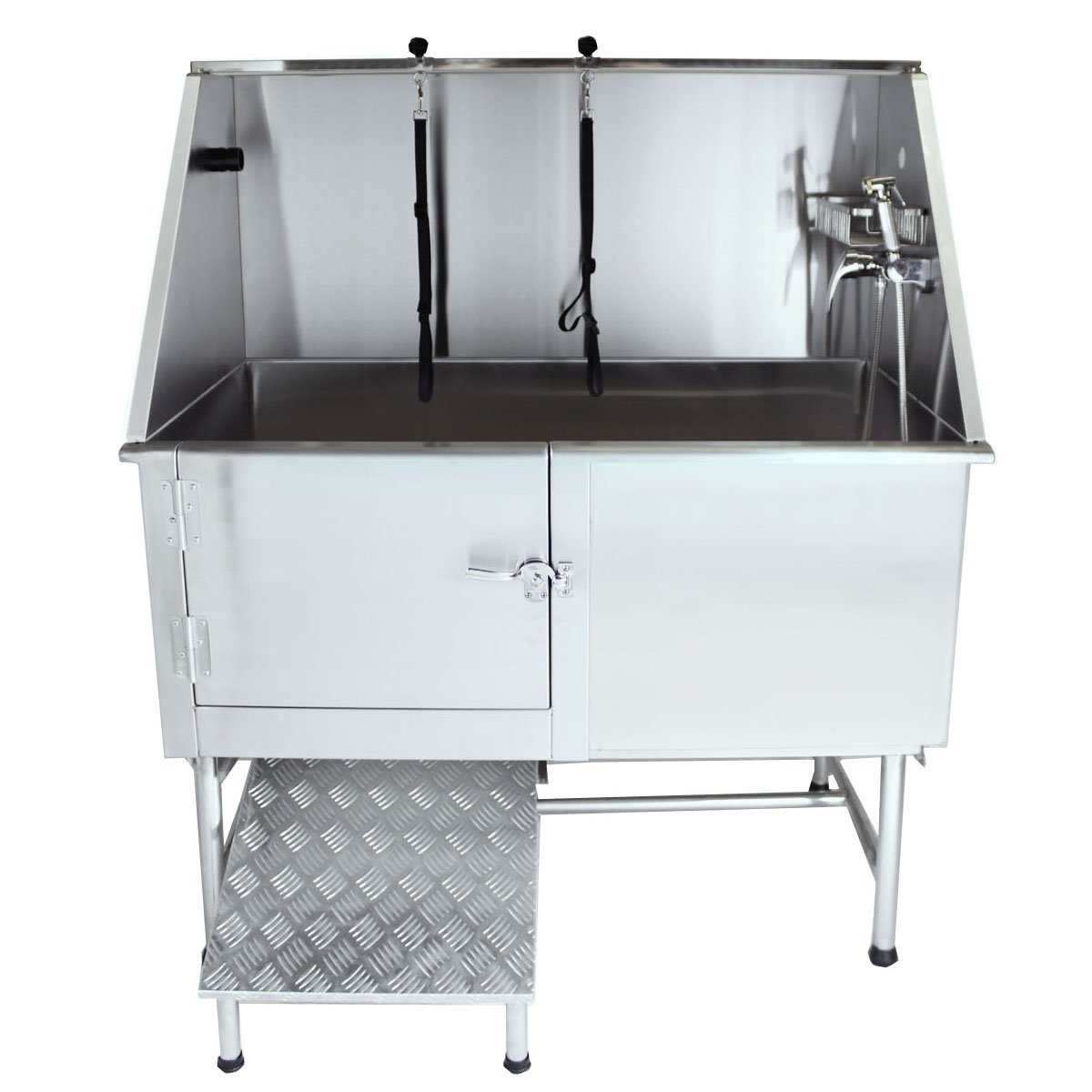 Flying Pig Grooming 50'' Stainless Steel Pet Dog Bath Tub with Faucet (Left door/Right Drain), 50 x 27 x 58''
