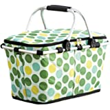 Polka Dot Collapsible Insulated Tote Baskets