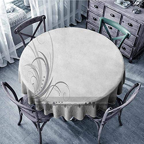 (ScottDecor Kids Round Tablecloth Picnic Cloth Grey,Ornament Border with Artistic Swirls Dots in Rococo Style Renaissance Details, Pale Grey White Diameter 60
