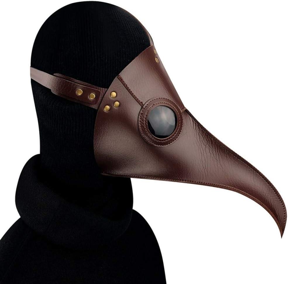 KVBJHNU Doctor Máscara Nariz Larga Cosplay Fantasía Máscara Retro Rock Cuero Máscara de Pico de Halloween, Café