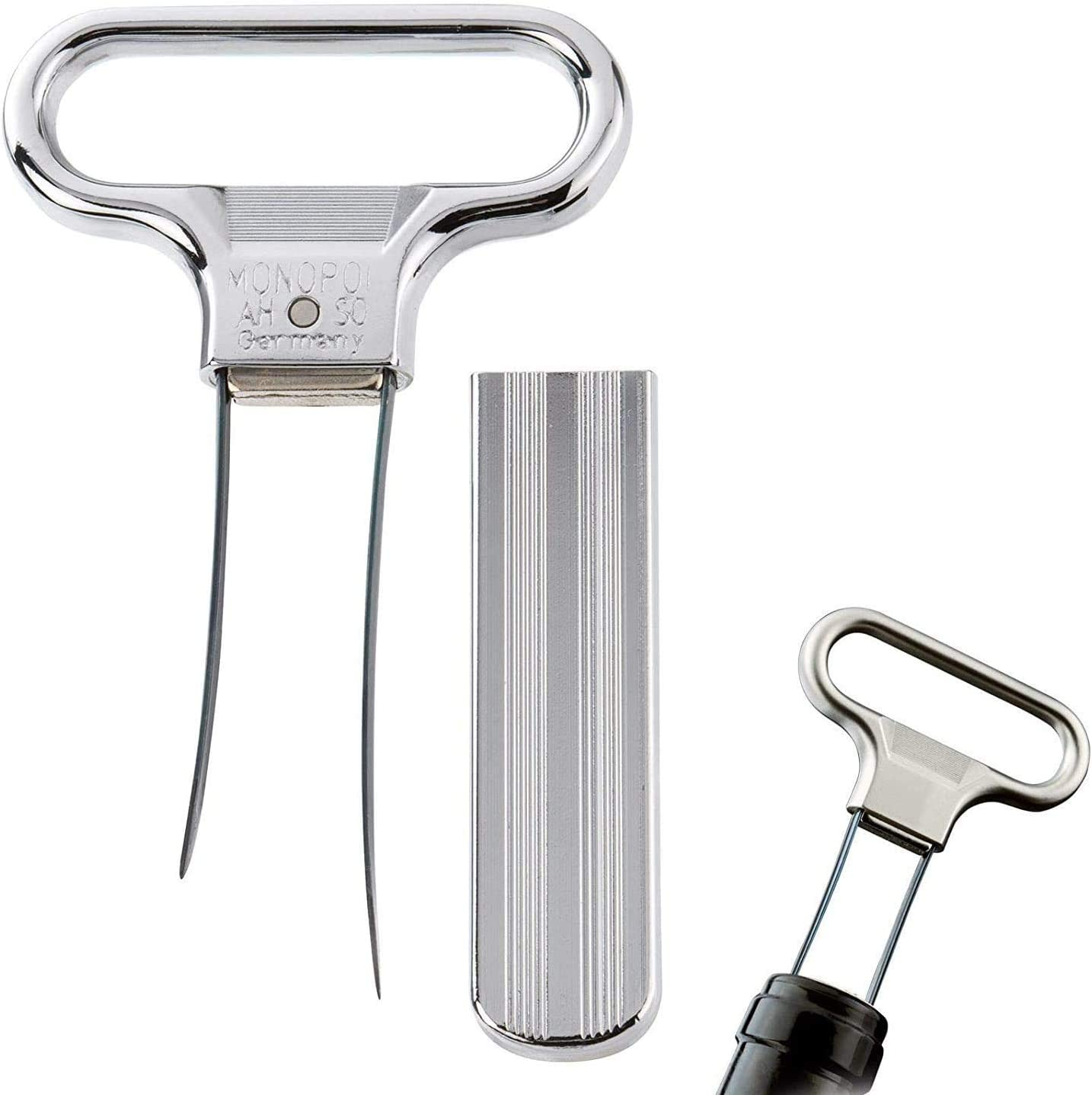 Amazon Com Monopol Two Prong Cork Puller Ah So Waiter S Friend Superfine Polished Satin Finished In Gift Box Made In Germany Pack Of 2 Kitchen Dining