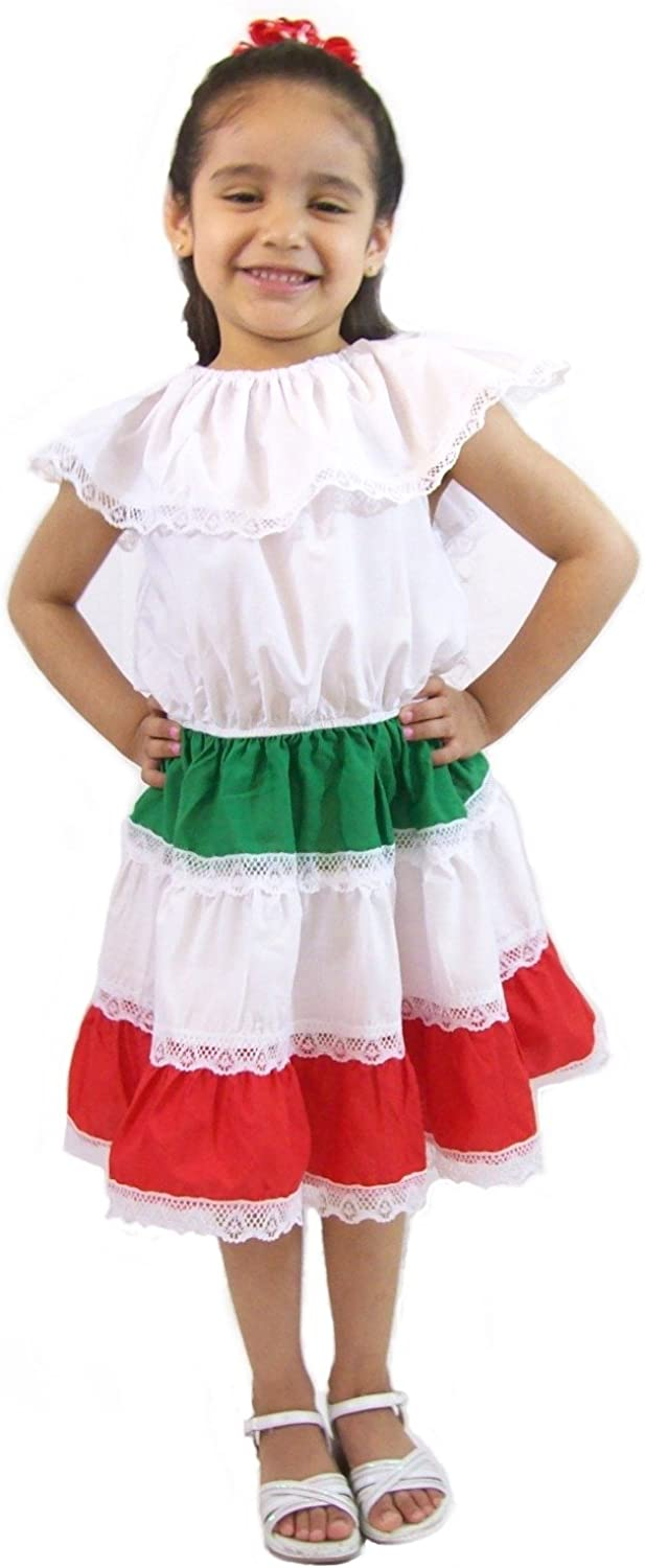 Leos Imports Girls Mexican Dress Tri-Color (Red,White,Green)