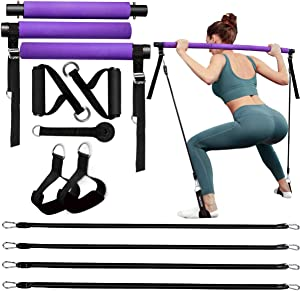 MALOOW Pilates Bar Kit with 4 (2 Strong & 2 Standard) Resistance Bands,Adjustable Portable Compact 3-Section Yoga Resistance Bands for Legs and Butt, Pilates Exercise Stick with Foot Strap for Full Body Workout