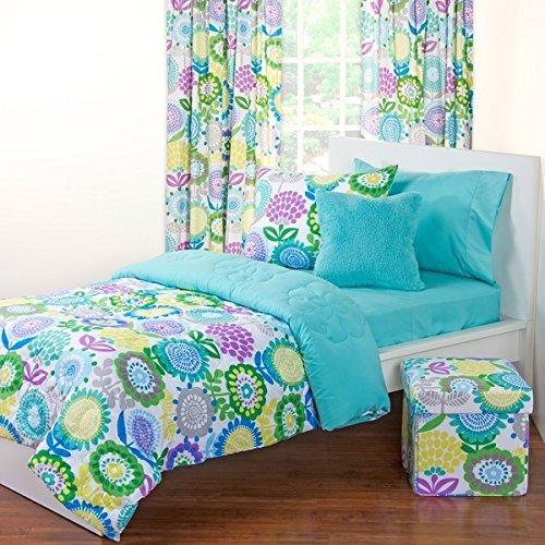 9個入りガールズフローラル掛け布団ベッドルームボックスツインセット、ゴージャスな花テーマパターン、明るいBohoシックColored、ブルーグリーンパープルホワイトイエロー、鮮やかな、寝具 B075TSGCC8
