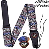 Anwenk Guitar Strap Acoustic Guitar Strap Bass Guitar Strap for Kids Adult with Pick Pocket 3 Guitar Picks Woven Hootenanny Cool Vintage Pattern with Tie for Acoustic Guitars,Purpl