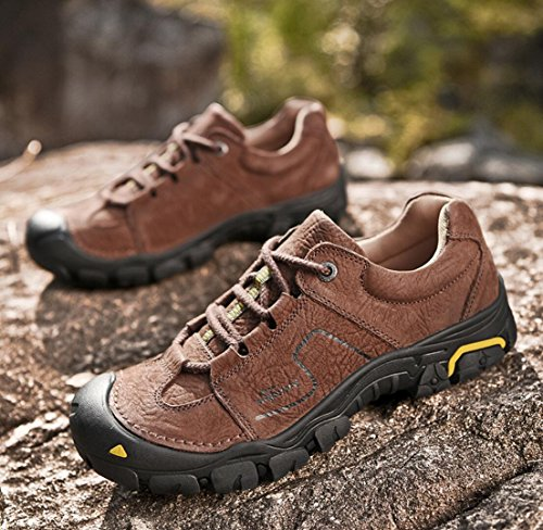 WSK Men's outdoor hiking shoes leather non-slip wear-resistant sports shoes men's shoes running travel shoes men's shoes large size 46, yellow, 40