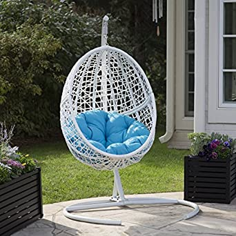 Enjoyable White Resin Wicker Hanging Egg Chair W Stand Outdoor Patio Includes Blue Cushion Frankydiablos Diy Chair Ideas Frankydiabloscom