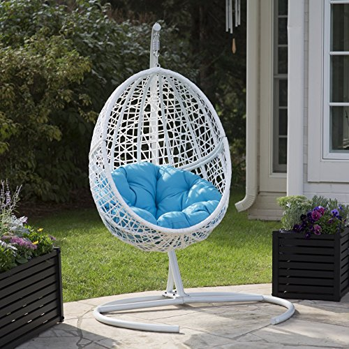 (White Resin Wicker Hanging Egg Chair w/ Stand Outdoor Patio Includes Blue)