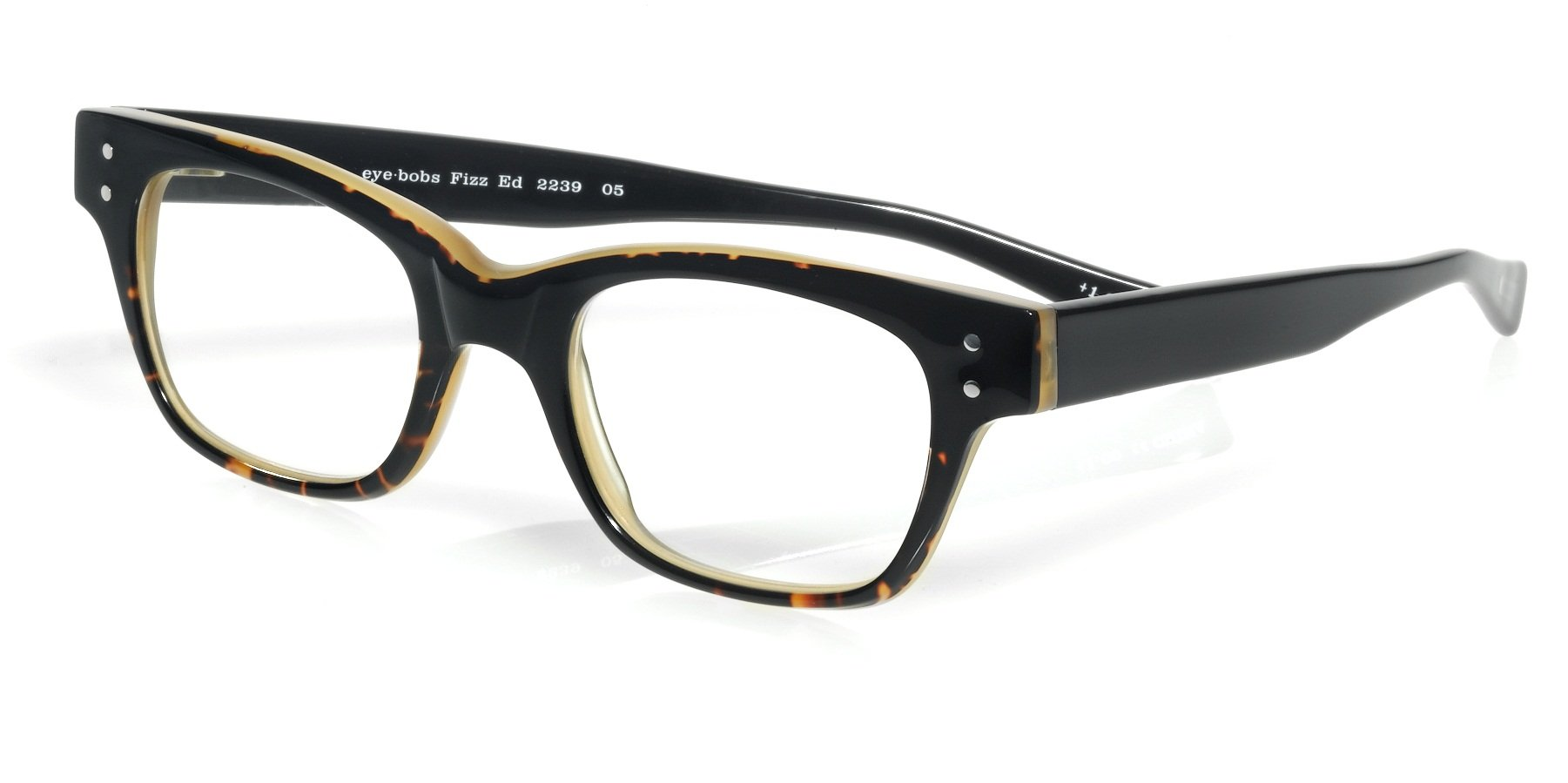eyebobs Fizz Ed, Black and Demi Tortoise Reading Glasses - SUPERIOR QUALITY- because your eyes deserve the good stuff