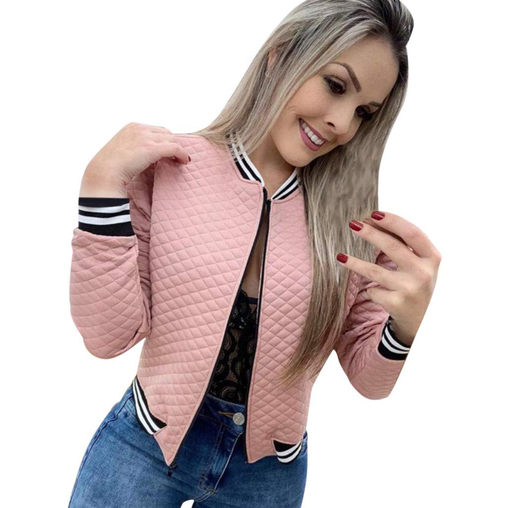 〓COOlCCI〓Women Quilted Lightweight Jackets,Zipper Long Sleeve Fall Outwear Thin Jacket Bomber Jackets Coat Windbreaker Pink by COOlCCI_Womens Clothing