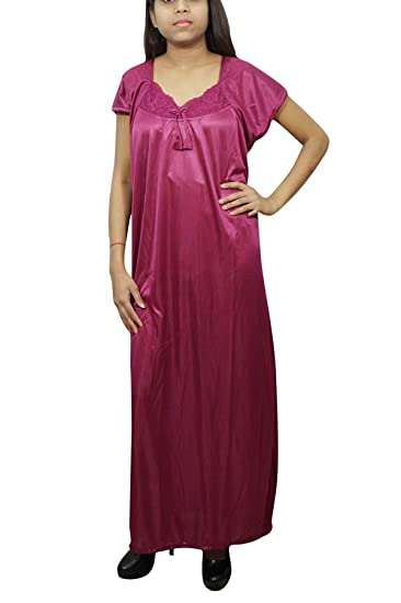 b2c8d7c6be Indiatrendzs Women 2pc Set Nighty Satin Pink Solid Sleepwear with Robe   Amazon.in  Clothing   Accessories