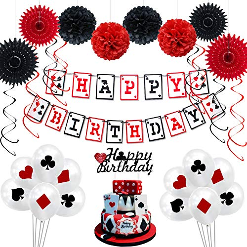 Casino Themed Party Decorations (Casino Birthday Party Decorations Supplies Kit by KeaParty, Casino Theme Party Decorations, Happy Birthday Banner, Casino Balloons and Cake Topper, Paper Fans, Pom Poms, Swirls for Las Vegas Party)