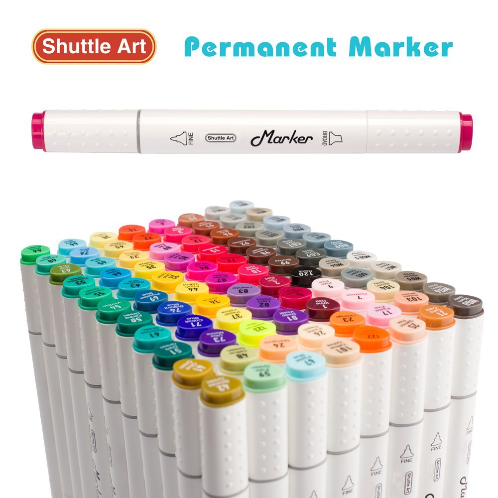 shuttle art  Shuttle Art 88 Colors Dual Tip Art Markers,Permanent Marker Pens ...