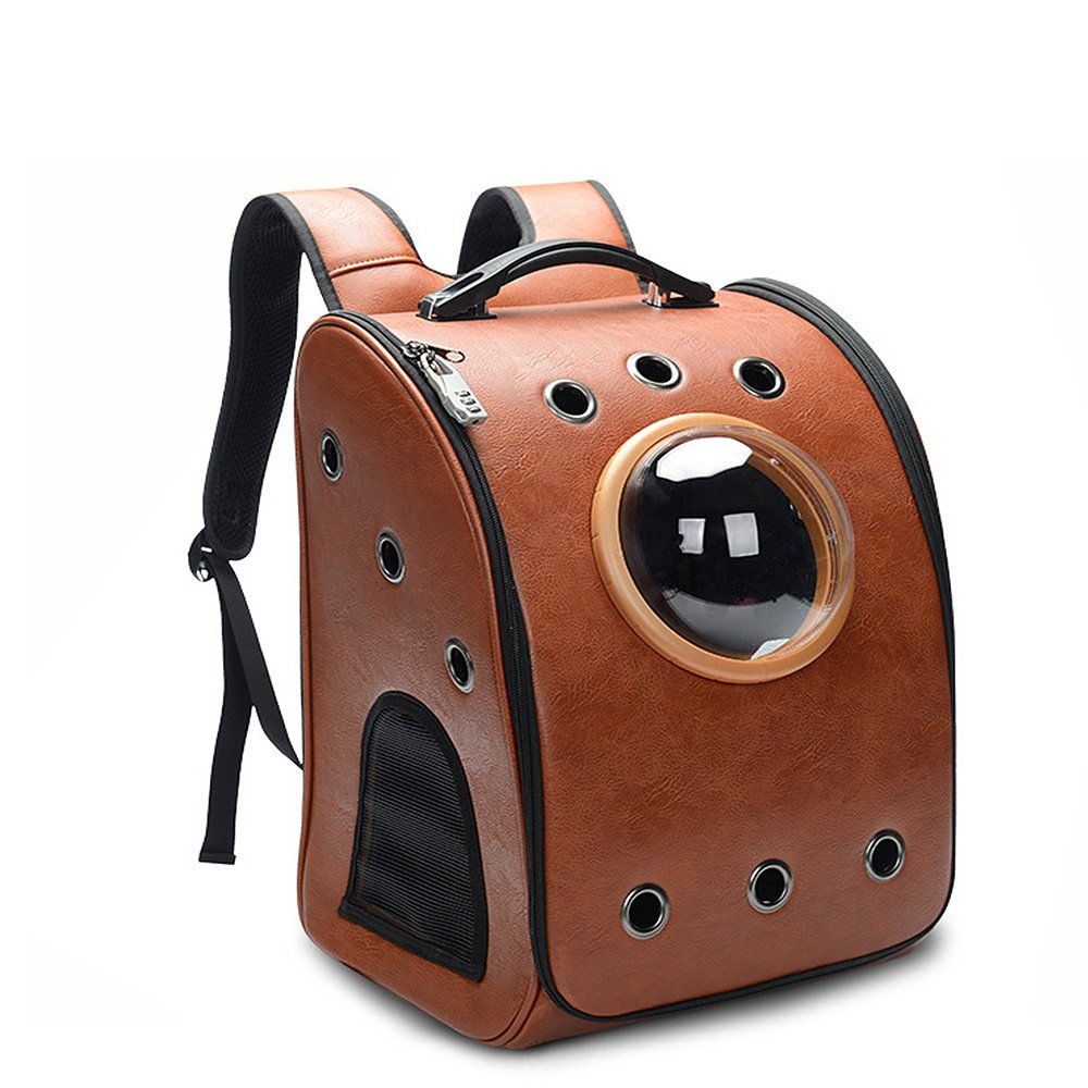 petkuguo Pet Hunde Transportbox faltbar Abnehmbare Traveler Bubble PU Leder Rucksack für Katzen und Hunde