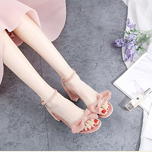 Head Summer Colore Farfalla Da Square Open A Sandali Donna Dimensioni Party Nodo Dating cn36 Rosa Tacco 6cm uk4 Eu36 Shoes Medio Zhirong Toe Shoe zwPq7Uw