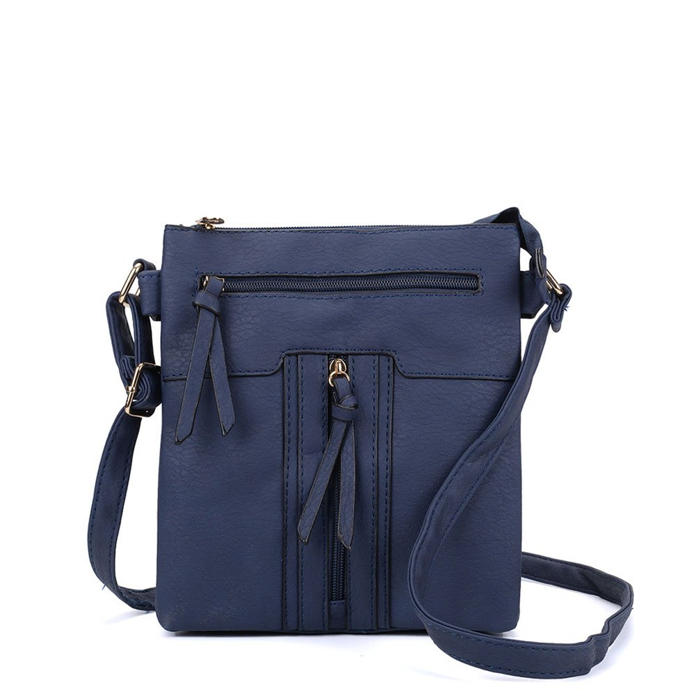 Navy SALLY YOUNG Fashion Women PU Leather Zip Front Cross Body Bag