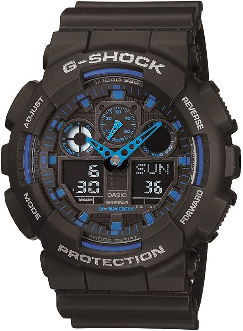 Casio Men s XL Serie s G Quartz Watch, WR Shock Resistant Resin Color Black and Blue Model GA-100-1A2CR