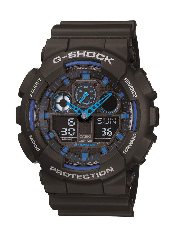 Casio Men's XL Serie's G Quartz Watch WR Shock Resistant Resin Color: Black and Blue (Model GA-100-1A2CR)