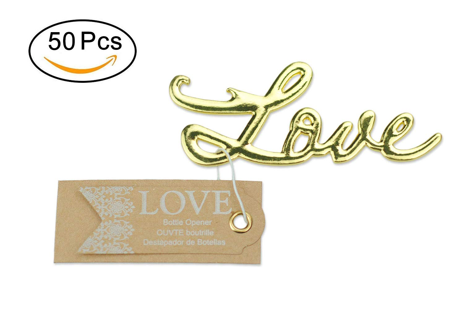 50 pcs Gold Bottle Openers Wedding Favors Decorations, Kraft Paper Label Card Tag, Love Shaped, Party Supplies by IBWell (Image #1)