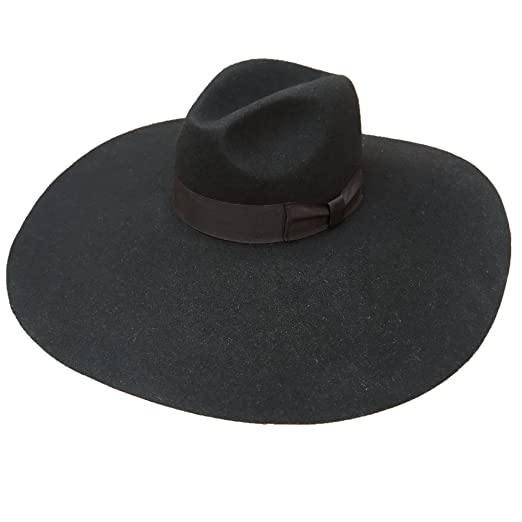 daee679b736 Black Wool Felt Soft Extra Wide Large Brim Fedora Hat For Women 16cm (S
