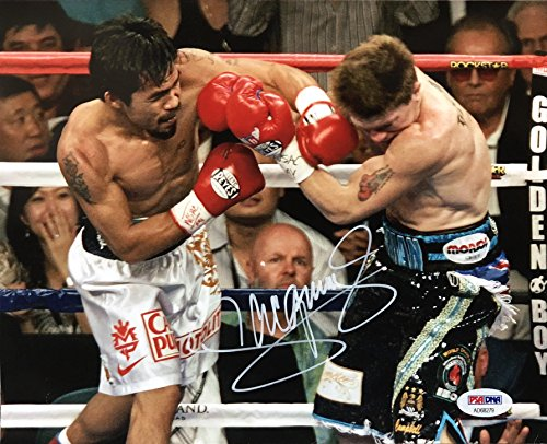 MANNY PACQUIAO Signed Autographed Boxing 8 x 10 Photo Ricky Hatton Fight PSA/DNA COA