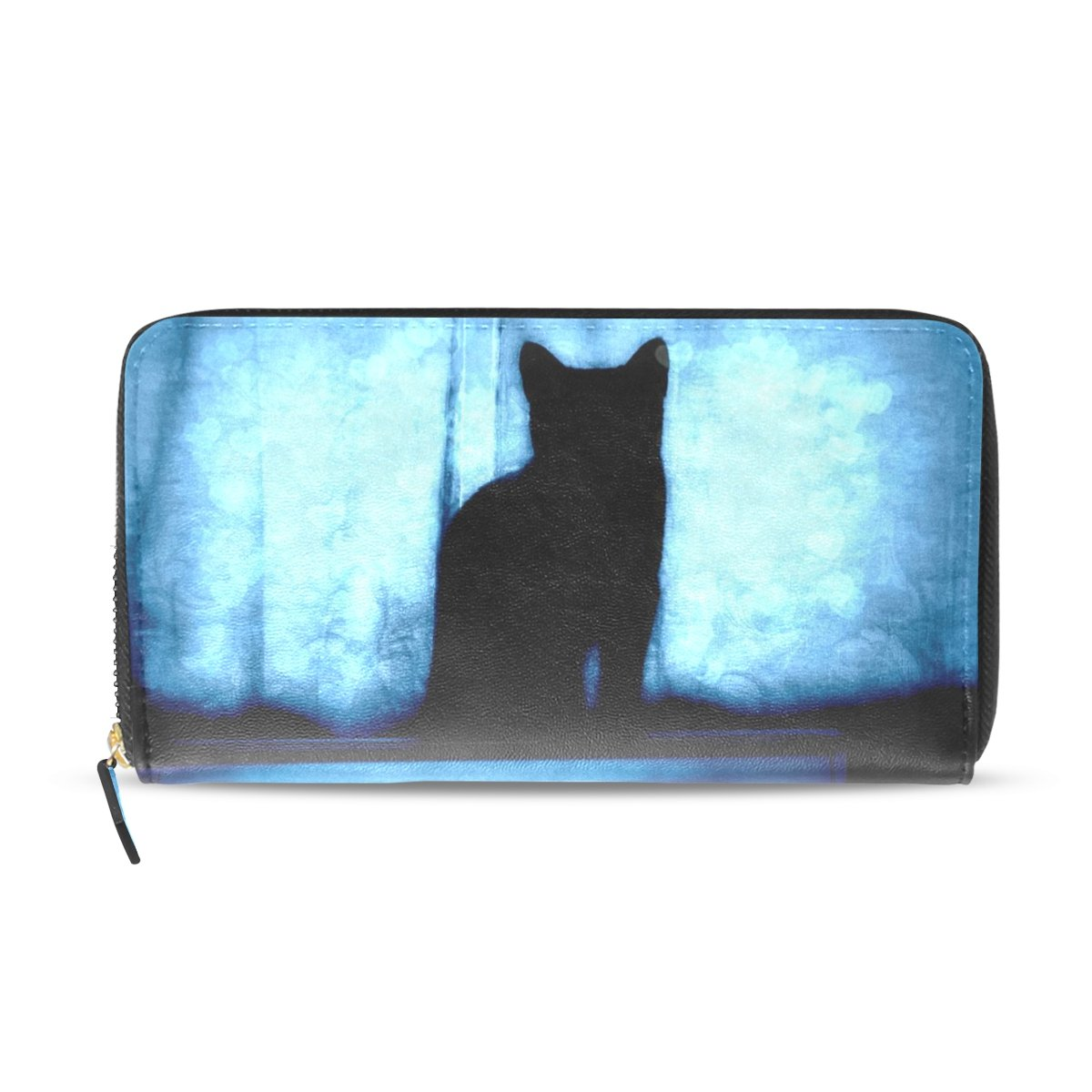 ABLINK Cat Shadow Under The Blue Curtain Women's printing Wallet Cell Phone Zipper Around Long Purse