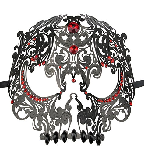 Skull Face Masquerade Masks Mardi Gras Party Mask with Rhinestones -
