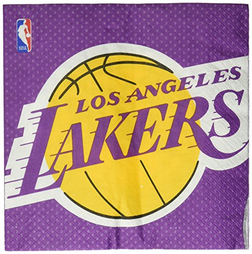 Amscan NBA Party Los Angeles Lakers Luncheon Napkins, 16 Pieces, Made from Paper, by by Amscan
