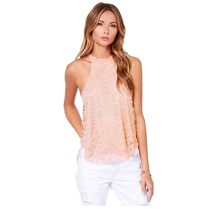Fortan las mujeres del verano camisa sin mangas de encaje informal chaleco flojo de la blusa