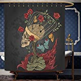 Wanranhome Custom-made shower curtain Skull Evil Mexican Sugar Skeleton with Kitsch Bush of Roses Snake and Butterfly Artwork Ruby Dark Grey For Bathroom Decoration 72 x 84 inches