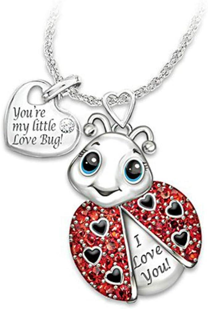 Women Rhinestone Inlaid Ladybug Heart Letter Pendant Chain Necklace Jewelry Gift for Ladies Girls Mom lEIsr00y Adjustable Elegant Necklace