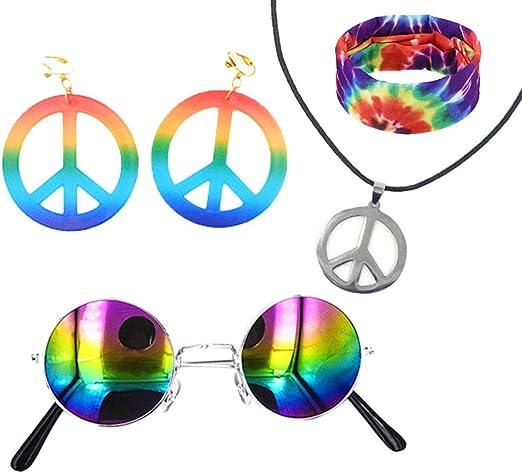 Juego de 6 piezas de disfraz hippie para mujeres, hombres, diadema ...