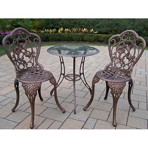 (Oakland Living Hummingbird Cast Aluminum 24-Inch Glass Top Table with 3-Piece Bistro Set, Antique Pewter)