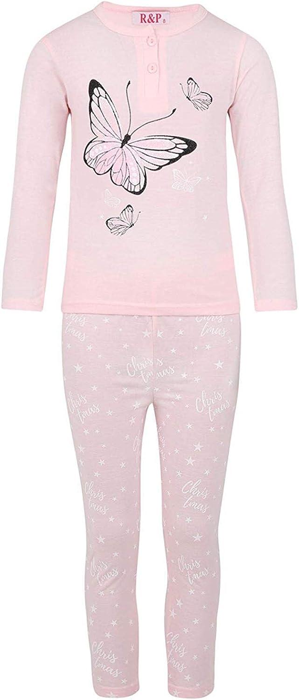 LOTMART Ragazze Maglione Pantaloni Pigiama Farfalle Applicazione
