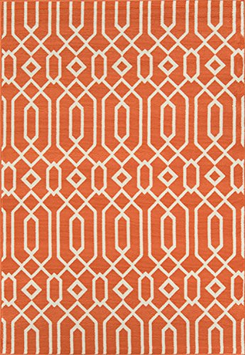 "Momeni Rugs , Baja Collection Contemporary Indoor & Outdoor Area Rug, Easy to Clean, UV protected & Fade Resistant, 5'3"" x 7'6"", Orange from Momeni Rugs"