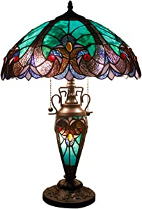 Stained Glass Lamp 3 Light W16 H24 Inch Tiffany Style Green Liaison Table Night Light for Living Room Bedroom Antique Dresser Coffee Table Beside Bookcase S160G WERFACTORY
