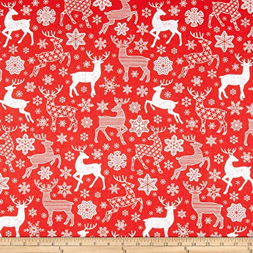 Santee Print Works Christmas Reindeer and Snowflakes Fabric, Red, Fabric By The Yard
